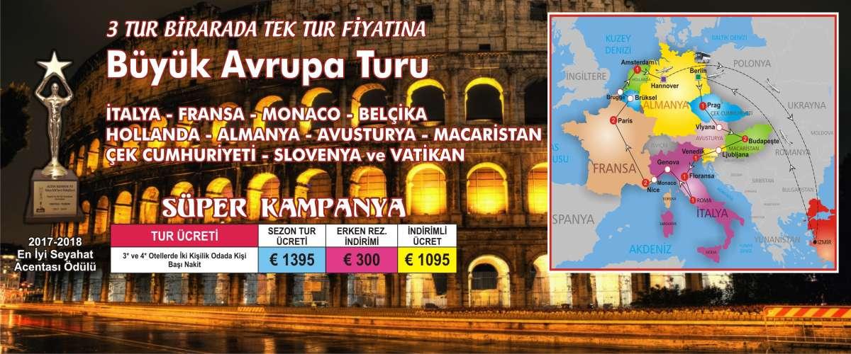 PRAG(1) - VİYANA - BUDAPEŞTE(2) - VENEDİK(1) - FLORANSA(1) - ROMA(1) - GENOVA - NİCE(2) - MONACO - PARİS(2) - BRUGGE - BRÜKSEL - AMSTERDAM(1)